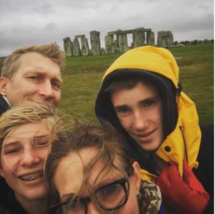 The fam at Stonhenge...in the driving rain