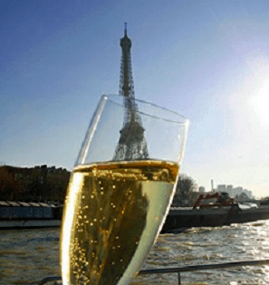 champagne in paris with view of eiffel tower