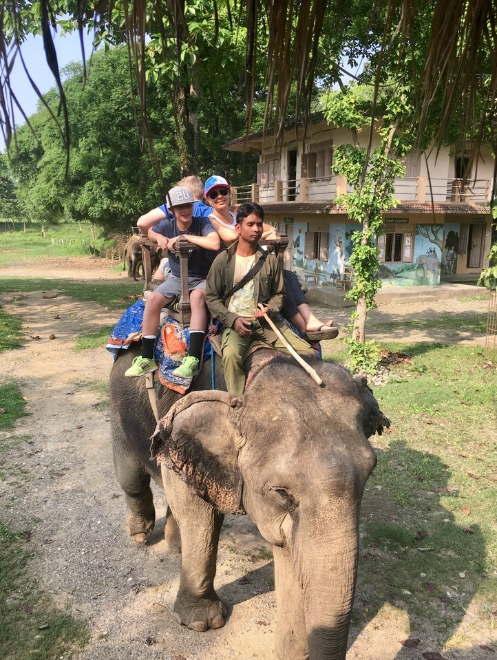 Chitwan national park, nepal with kids elephant ride