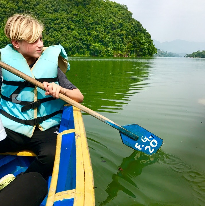 travel to pokhara nepal with kids kayaking