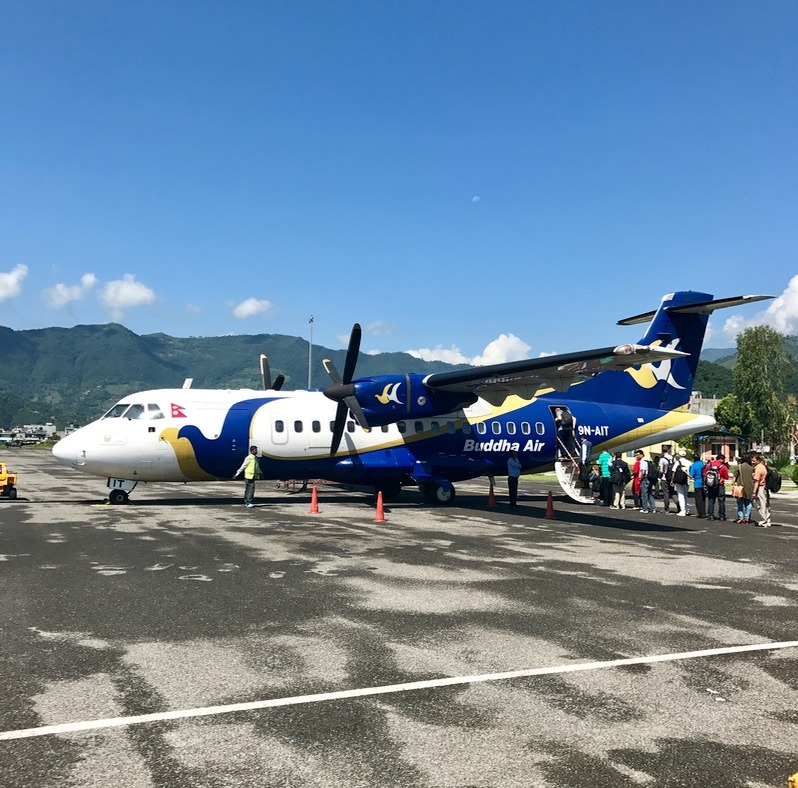 small plane flying from pokhara nepal