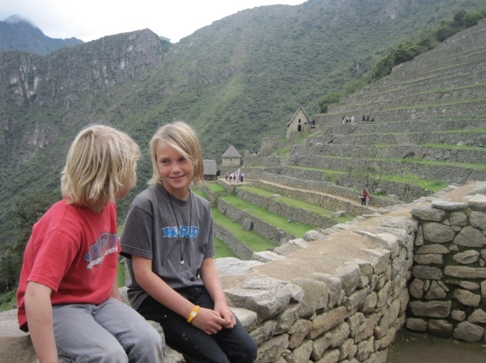 Kids and Llamas at Machu Picchu