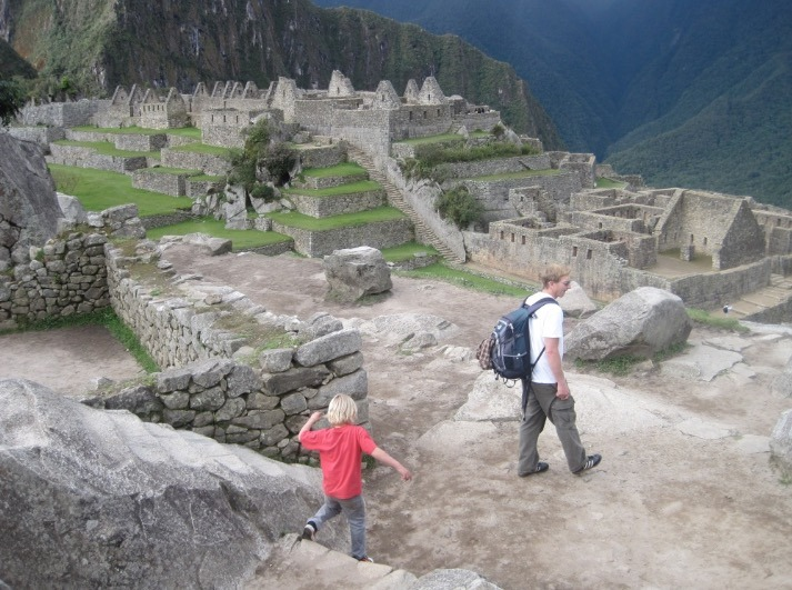 kids at machu picchu, peru and hiking