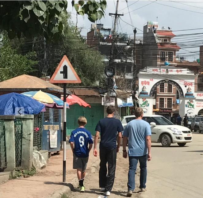 traveling to Nepal with kids - kathmandu walking around