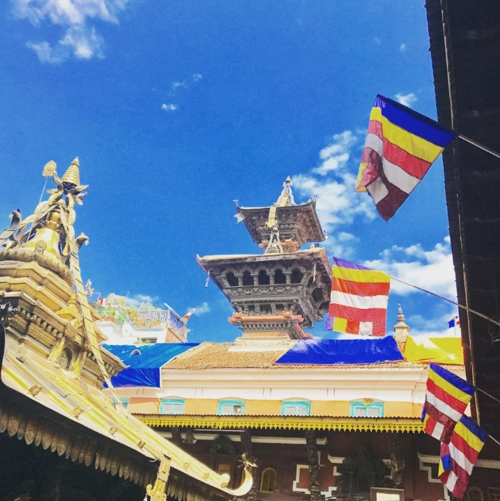 traveling to Nepal with kids - kathmandu flags