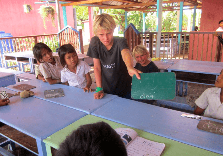 Teaching English to children in an orphanage in Cambodia