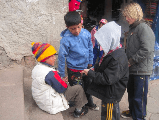 Julian introduced the silly band craze to friends he met in Lake Titicaca, Peru!