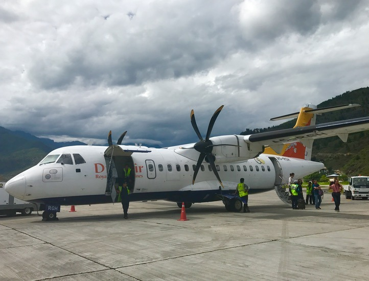 Drukair turbo prop in Paro, Bhutan