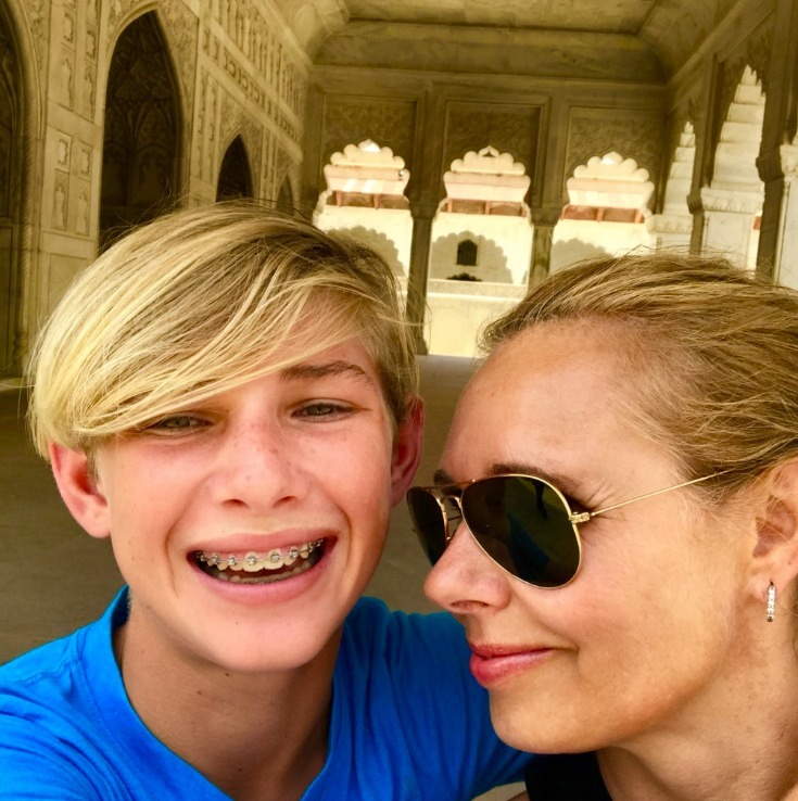 visiting taj mahal, Agra, India with mom and son