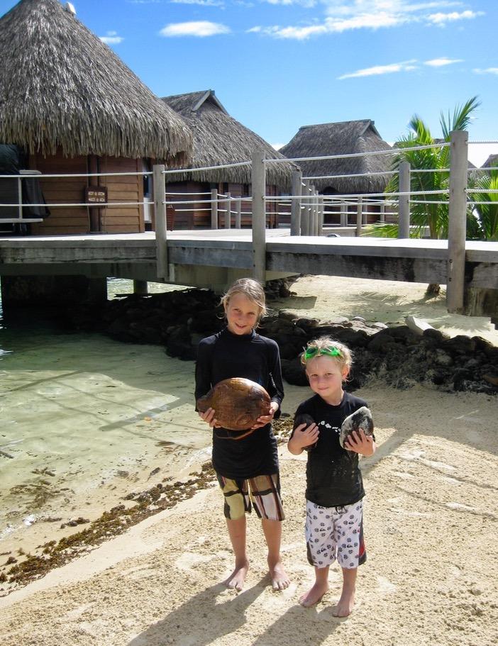 Moorea tahiti with kids coconuts
