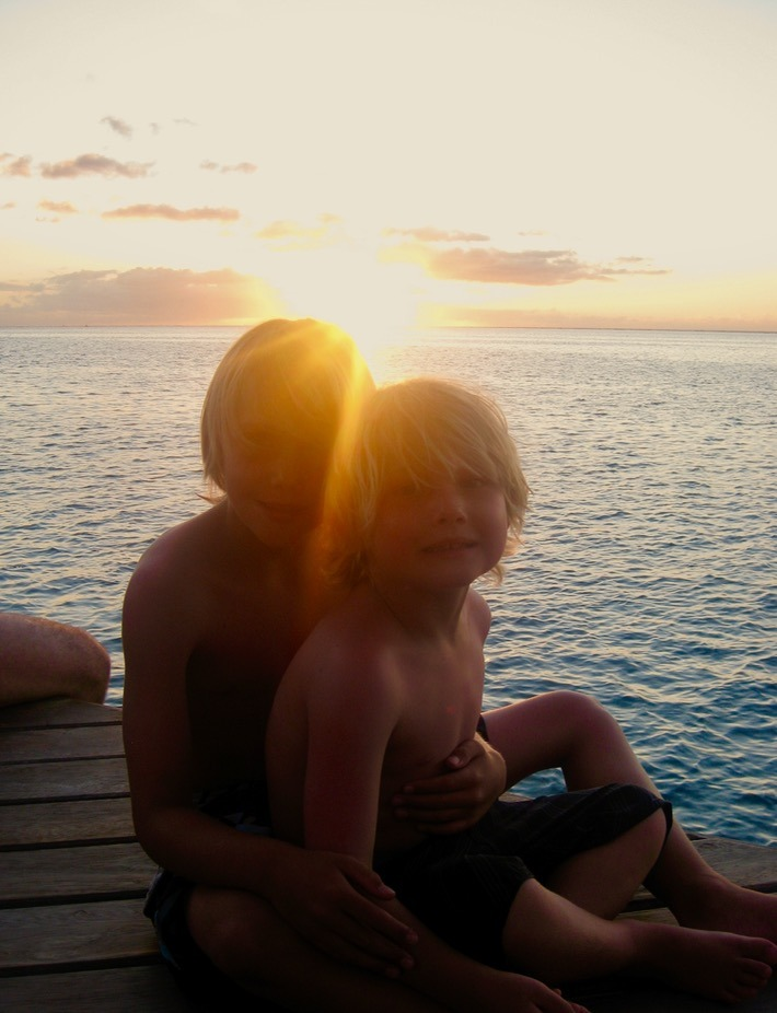 swimming with sharks Moorea tahiti with kids sunset