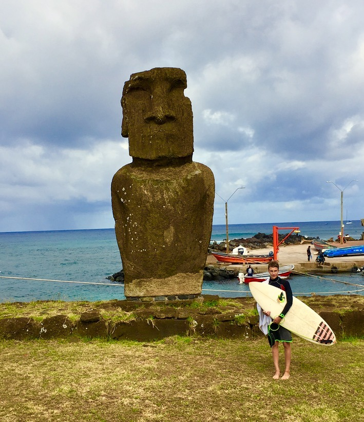surfing on easter island with children