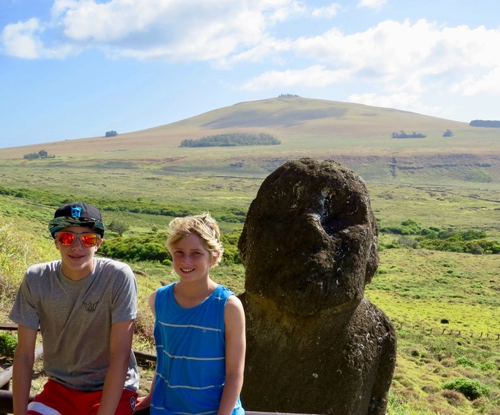 moai statues with kids