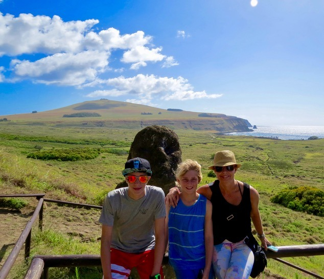 visiting the moai statues on easter island