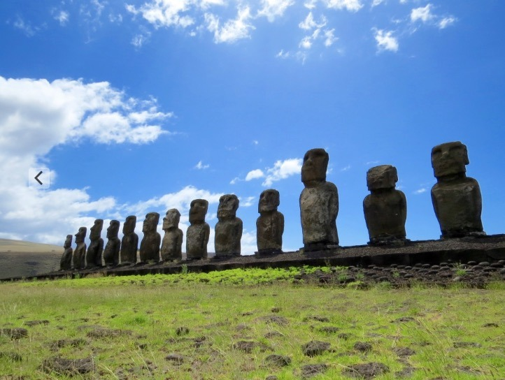 family who visiting the moai statues on easter island