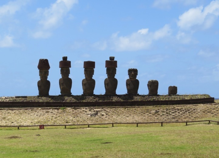 visiting the moai statues on easter island anakena