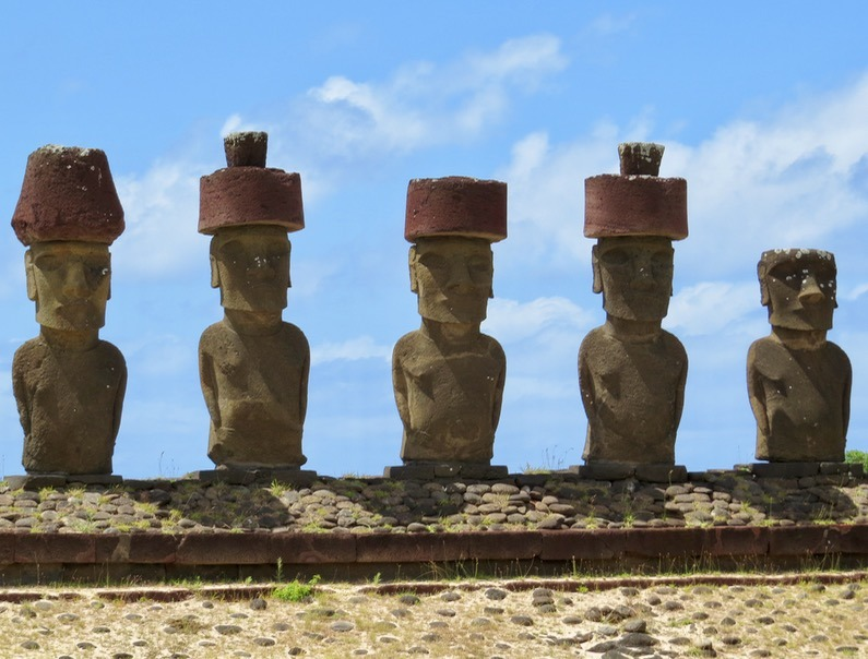 The Moai have fancy rock hats