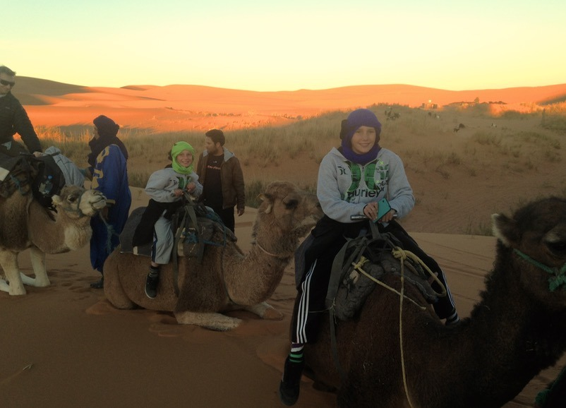 kids camping in the sahara desert, Morocco