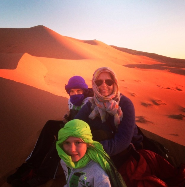 family sunset sahara desert, Morocco