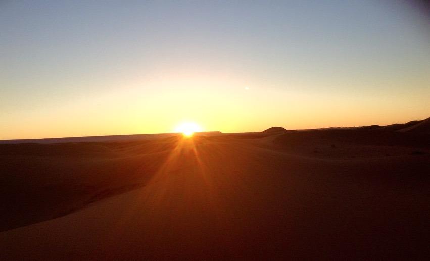 camping sunrise sahara desert, Morocco
