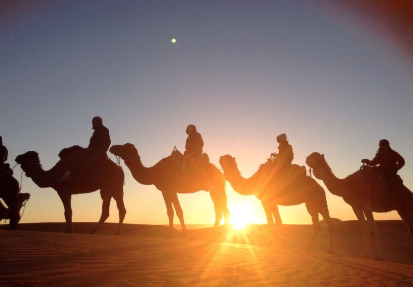 family traveling to sahara desert, Morocco
