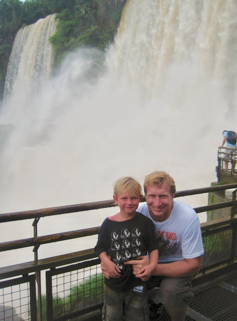 Iguazu Falls in Brazil and Argentina with kids dad