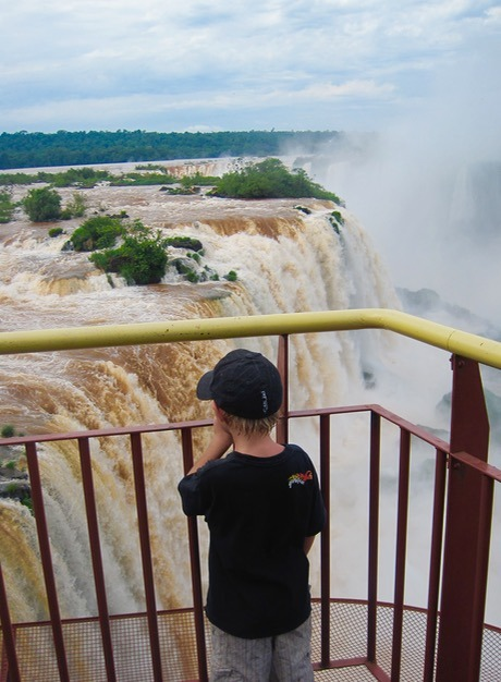 kids in Iguazu Falls in Brazil and Argentina with kids