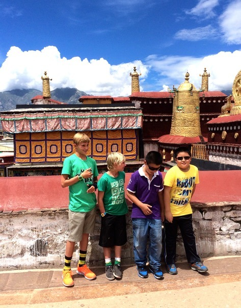 Lhasa Tibet Drepung Monastery with local kids