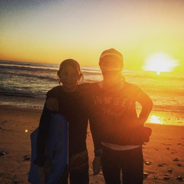 sunny hermosa beach as the sun sets