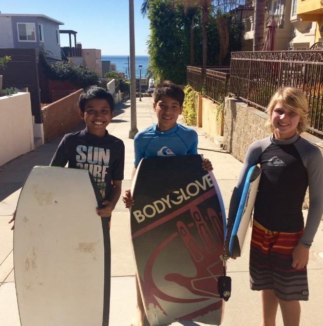 Body boarding in Hermosa Beach