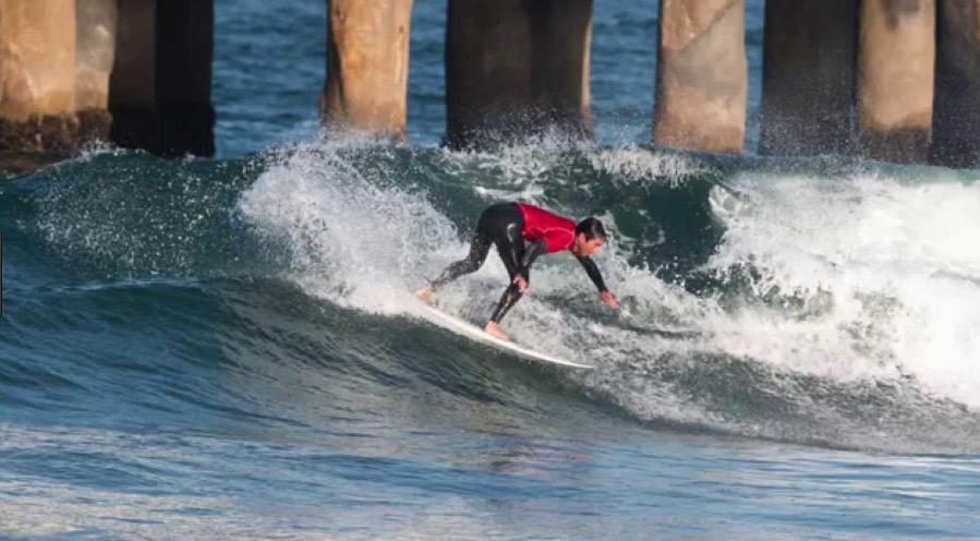 Surfing at Hermosa Beach Pier
