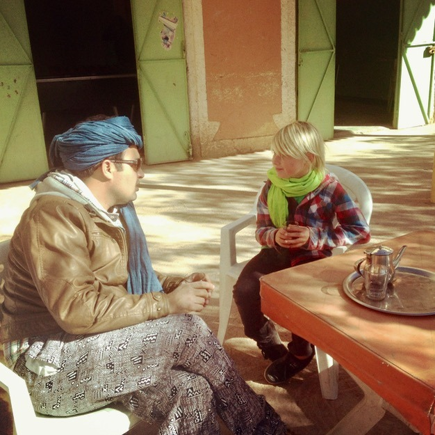 morocco with kids and drinking tea