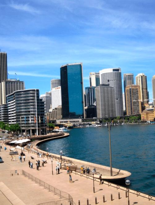 Sydney Australia botanical gardens and harbor with children