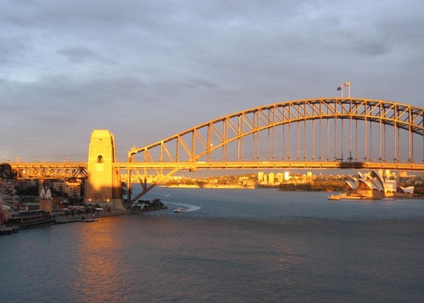 Sydney Harbor Bridge, Australia sunset with kids