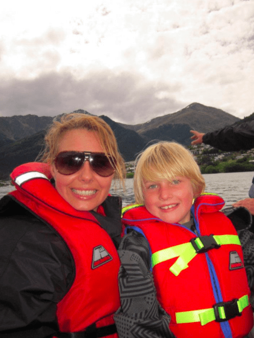 mom Jetboating in Queenstown with Kids for thrills