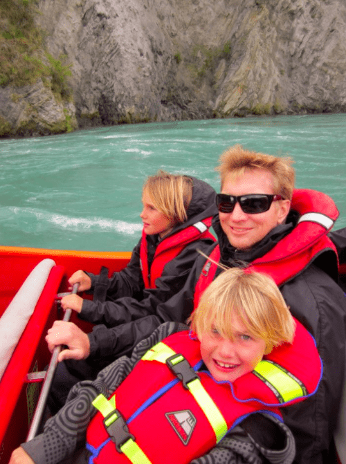 kids who Jetboating in Queenstown