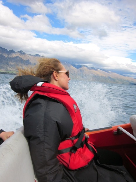 Mom Jetboating in Queenstown with Kids