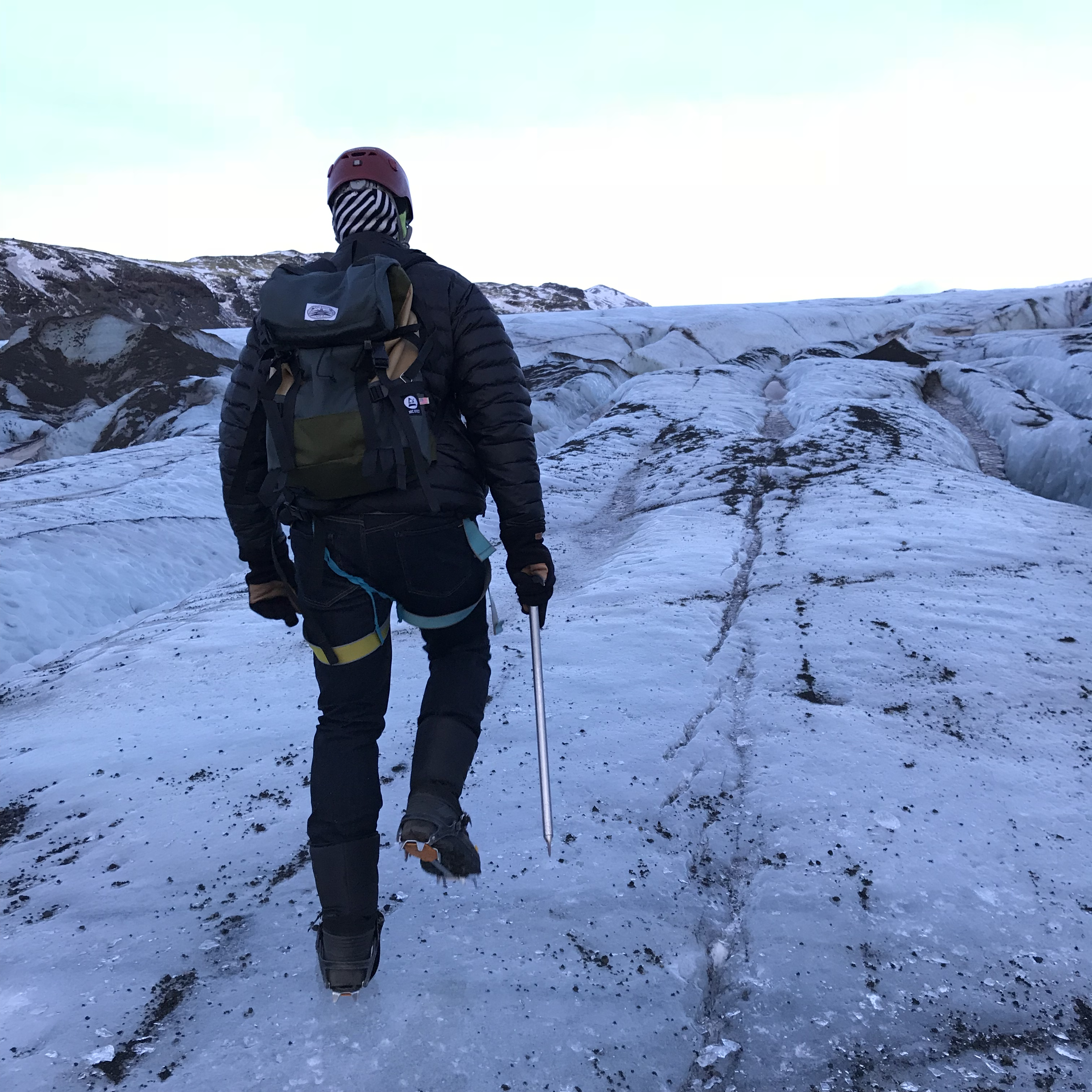 Solheimajokull glacier, Iceland. Hiking up the ice.