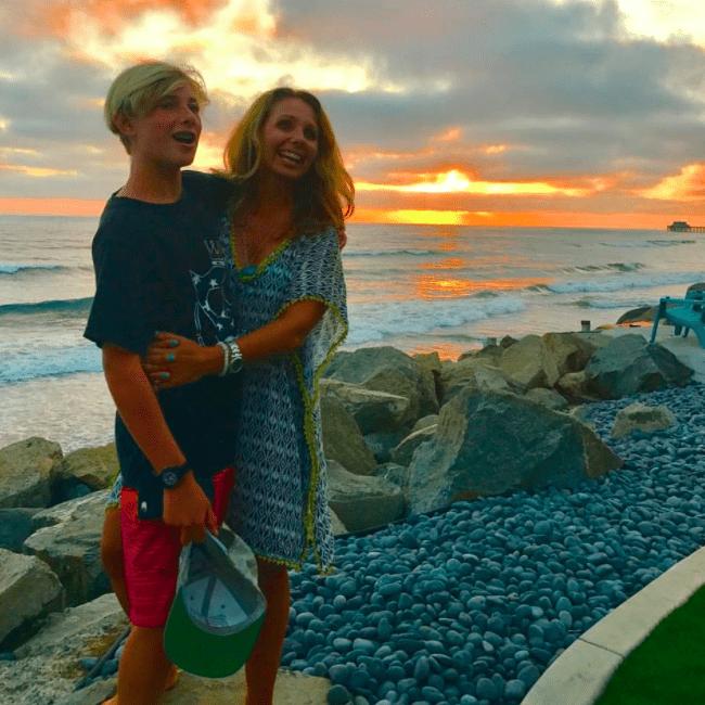 family sunset beach