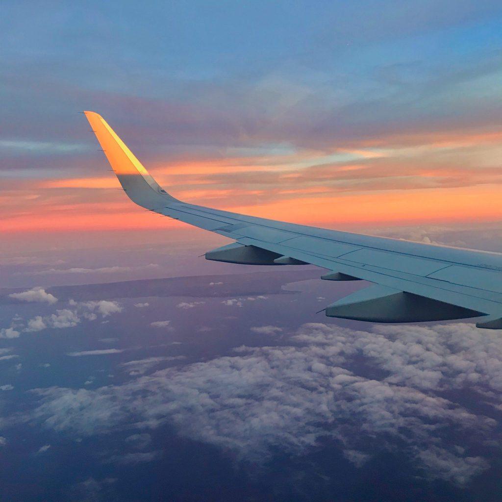 sunset flying into honolulu