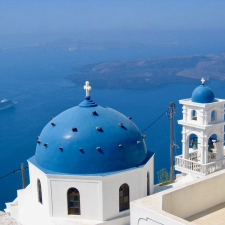blue domes santorini greece