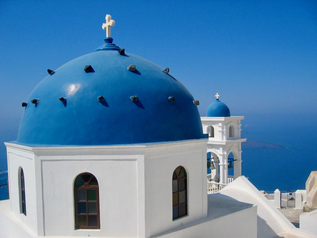 blue domed churches santorini greece