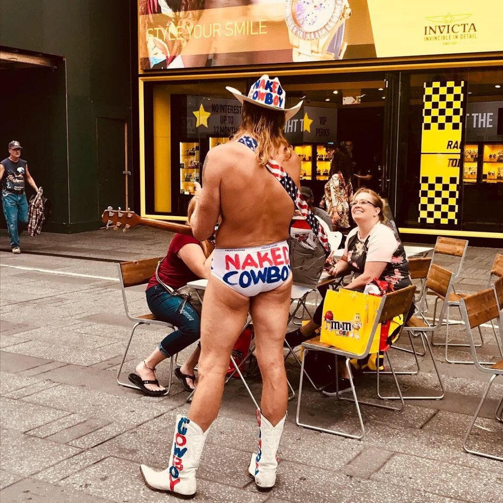 naked cowboy, times square, new york