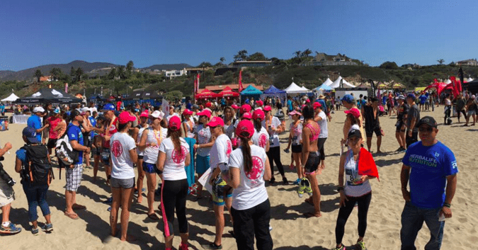 breast cancer survivor completes Malibu Triathlon with other survivors