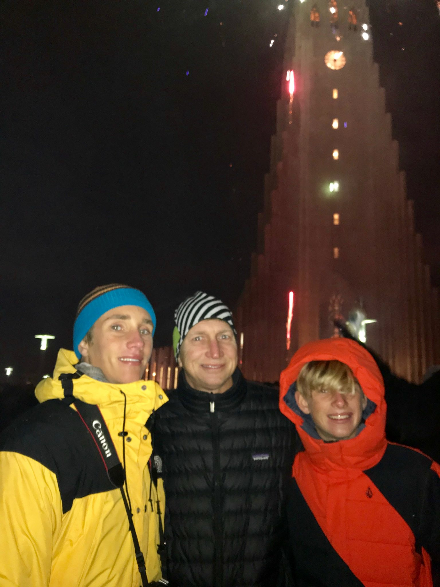 New years eve fireworks at Hallgrimskirkja church in Reykjavik