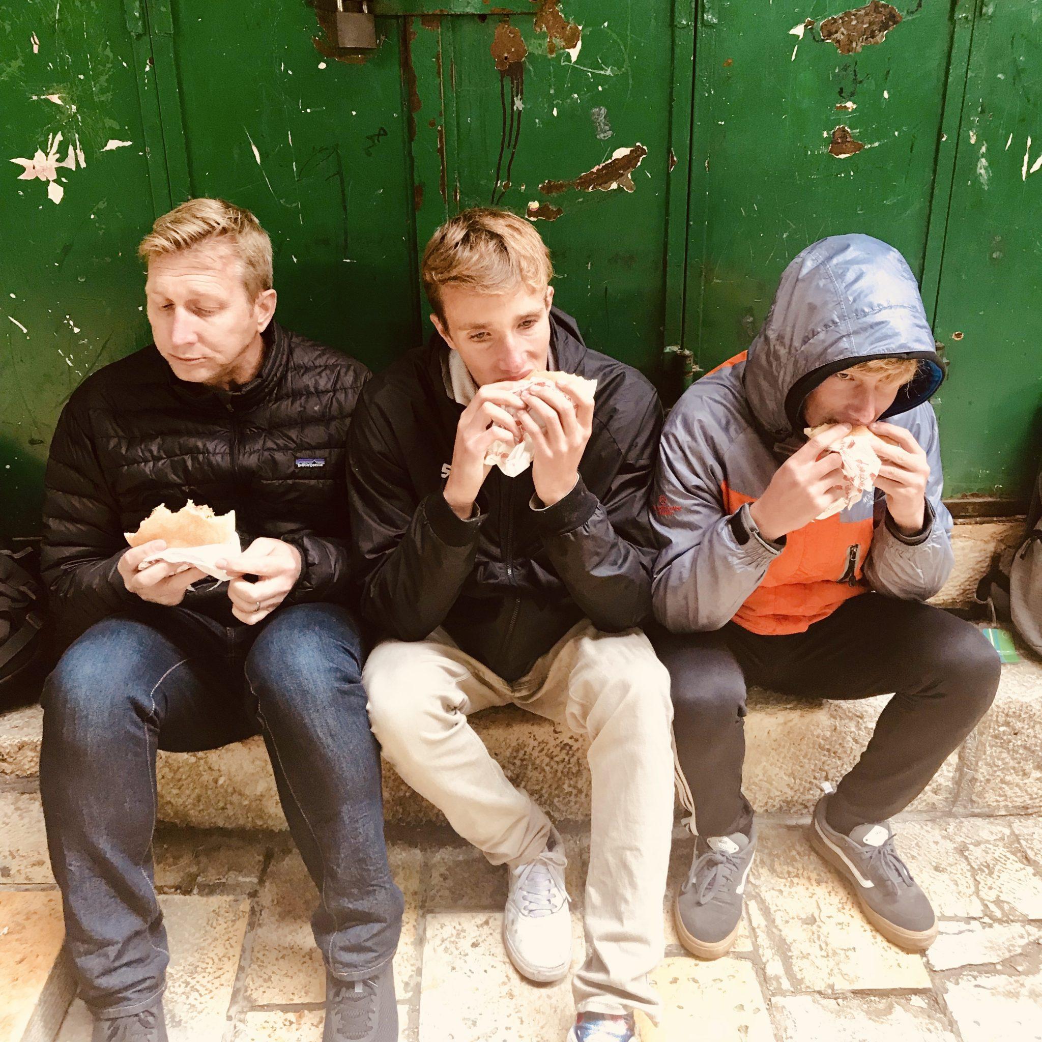 eating falafels in jerusalem