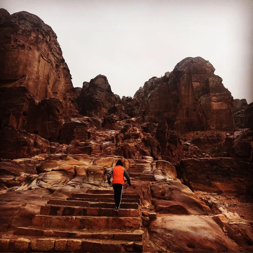 hiking to the monastery in Petra Jordan