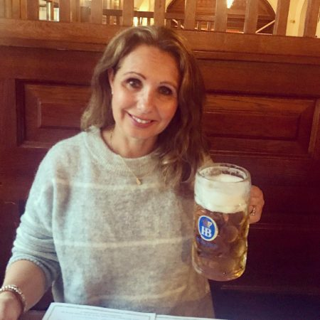 enjoying the food and beer in munich germany at hofbrauhaus