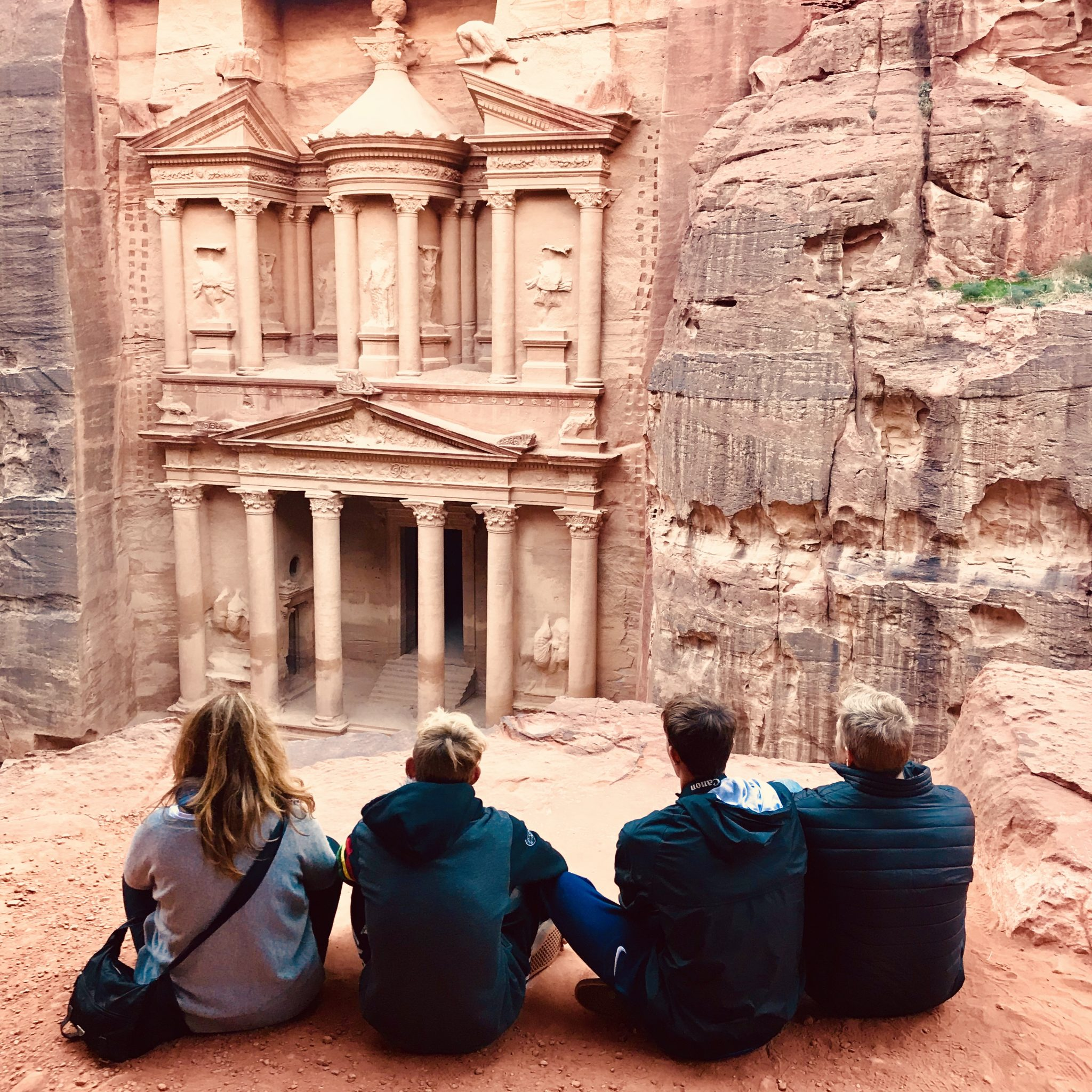 the treasury in Petra jordan with kids