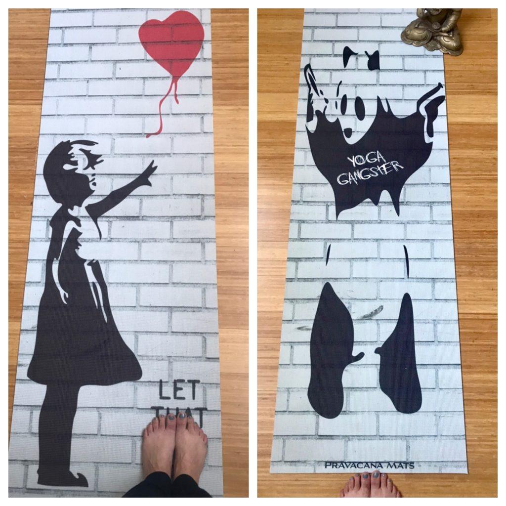 banksy street art yoga mat